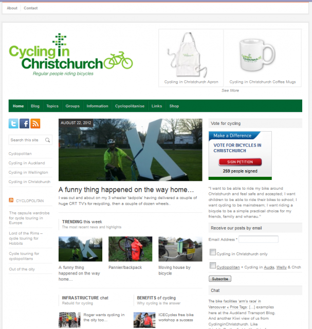 Cycling in Christchurch website