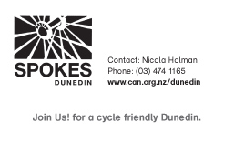 Spokes dunedin business card front cycling action network nz spokes dunedin business card front reheart Gallery