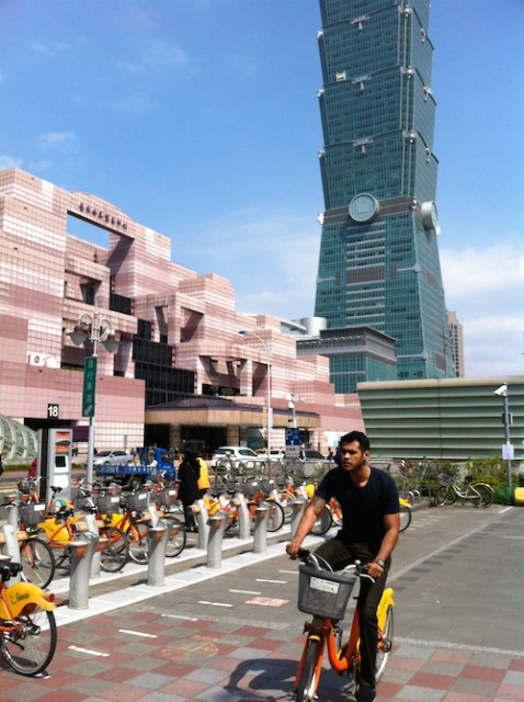 Tower 101 in Taipei - and the rental YouBikes!